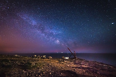 First Attempt... (Aleem Yousaf) Tags: eyecatcher digital paysage portland bill weymouth english channel long exposure contrast nikkor photography dorset uk outdoor sky stars great britain south coast isleofportland slow shutter jurrasic pitch dark milky way walk island photo rocks colorful sea natural view may old boat crane flickr vibrant