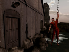 Escape from Alcatraz (ScottSilverdale) Tags: secondlife sl escape escapefromalcatraz escapee escaping jail penitentiary breakout scottsilverdale oneaway homerun jailbreak gaol inmate convict runaway prison alcatraz dawn hook hanging suspended ontherun freedom surf overalls coverall uniform dufaux groupgift signature signaturegianni catwa catwadaniel nomad inverse pose goodstuff bustinoutdeadoralive tonighttheresgonnabeajailbreak