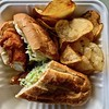 fried chicken sandwich and sage potato chips from Proposition Chicken (Fuzzy Traveler) Tags: friedchicken potatochips chicken chips sage sandwich slaw propositionchicken