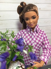 1. Flower arranging (Foxy Belle) Tags: barbie today doll made move kira mtm petite rebodied flowers plants real vase arrange gray white purple handmade shirt clothes