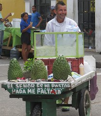 Street food seller, Getsemaní, Cartagena, Colombia, July 2017 (Judith B. Gandy (on and off, off and on)) Tags: vendors cartagena cities colombia getsemaní streets foodvendors streetscenes