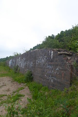 Retaining wall near Deepcar station.  May 2018. (dave_attrill) Tags: deepcar station remains retainingwall yard brick graffiti sheffield southyorkshire greatcentral gc gcr electrified mainline disused passenger goods beeching cuts report sheffieldtomanchester woodhead woodheadroute closed singletrack stocksbridge branch donvalley works closed1970 may 2018 railway sheffieldvictoria 1954 1970 1981 wortley oxspring class76 class26 penistone