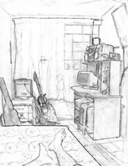 Meu quarto (Cesar Crash) Tags: observação observation drawing room pencil lápis guitar