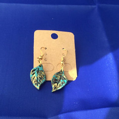 Antiqued Teal Leaf Earrings, Gold, Silver, 18k gold plated, nickel free by SilverSkyByJanet (janetdmorris) Tags: etsy crafts shopping antiqued teal leaf earrings gold silver 18k plated nickel free by silverskybyjanet