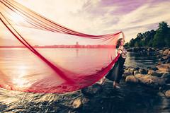 Wind Dance (Bunaro) Tags: uutela vuosaari helsinki finland suomi veil crimson wind dance flying over sea portrait girl beach rock sky clouds