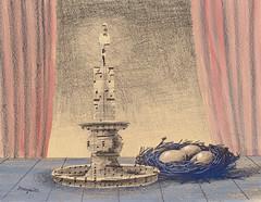 La veillée, collage, gouache & crayon, 13x16ins, 1961 (Pierre Arronax) Tags: renemagritte surrealism belgiansurrealism nest eggs curtains candle collage crayon gouache magritte