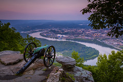 Sunset on Lookout Mountain (ProPeak Photography - Thanks for 600,000 views!) Tags: america blue buildings cannon chattanooga chickamaugachattanooga city cityscape civilwarmemorial clouds dusk famousplace green internationallandmark lookoutmountain moccasinbend nps nationalmilitarypark northamerica pink places pointpark purple red river rocks sunset tennessee tennesseeriver touristattraction traveldestination travelandtourism trees usa unitedstates water