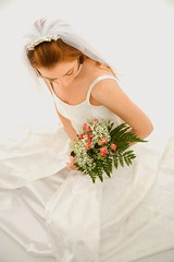 Stock Images (perfectionistreviews) Tags: image photograph color indoors studioshot wedding marriage vertical woman women bride female onepersononly portrait wife caucasian bouquet necklace dress veil flowers flower birdseyeview holidaysandoccasions