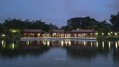 Chinese Tea House Pavilion (jacysf) Tags: teahouse chinesearchitecture lake blue hour water juronglakedistrict throughherlens createexplore longexposure pavilion