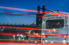 park and fly (pbo31) Tags: bayarea california nikon d810 color 2018 urban boury pbo31 june bluehour oakland eastbay alamedacounty lightstream motion bart oak oaklandinternational blur roadway airport red bus