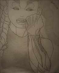 fictional character , blood (saburrated) Tags: hyperrealistic blood female character fictional drawing