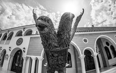 Cyprus 2018. . . (CWhatPhotos) Tags: cwhatphotos statue two headed eagle bw mono black white 2018 april digital camera pictures picture image images photo photos foto fotos that have which contain olympus holiday 43 micro four thirds penf protaras cyprus eastern building buildings old town square architecture samyang 75mm fisheye prime lens fish eye