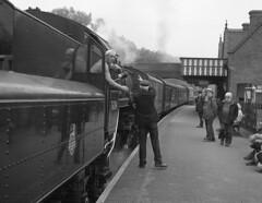 Token exchange (DH73.) Tags: north norfolk railway br standard class 4 loco steam 76084 weybourne heritage adrian vaughan 6x7 rangefinder camera 100mm f35 mamiya press lens 1500th sec f8 ilford delta 400 id11 11 14mins 68°f