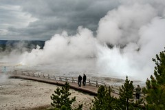 Geyser attack! (__Thomas Tassy__) Tags: basin yellowstone national park 2018 may eruption explosion trail path people usa thomas tassy outstanding amazing awesome wyoming stunning lower clouds fog
