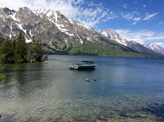 Jenny Lake in Grand Teton National Park (lhboudreau) Tags: jennylake lake shuttle outdoor outdoors park nationalpark grandteton grandtetonnationalpark mountain mountains tetons teton water landscape tree trees forest mountainside snow snowcapped wyoming boat powerboat