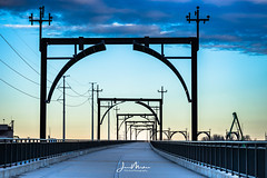 McKinley Bridge Walkway (Wits End Photography) Tags: dawn architecture sky sunrise bridge walkway clouds am cloudy daybreak daylight early firstlight infrastructure light morn morning outdoor sunup structure