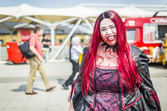 20180609_F0001: A vampire in the sunshine (wfxue) Tags: vampire bloody red fangs fictional character people portrait mcmcomiccon londoncomiccon cosplay costume event
