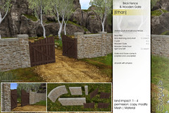 Sway's [Ethan] Brick Fence & Wooden Gate | FLF (Sway Dench / Sway's) Tags: kit landscape outdoor fence archway gate brick wall hedge sl vr
