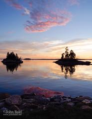 Summer Sunset, Harpswell, Maine  (99087) (John Bald) Tags: harpswell lookoutpoint maine brilliantsky coastal colorful island ocean reflection rocks shore summer sunset