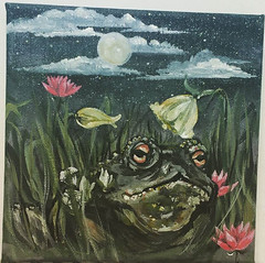 Chilled Toady (savannametcalfe) Tags: toad frog night moon primrose flowers lotus lily clouds sky colours organic wildlife nature