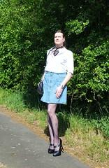Wearing my denim skirt out (Rikky_Satin) Tags: white blouse denim skirt pantyhose nylons highheels pumps crossdresser crossdressing transgender tgirl tgurl gurl