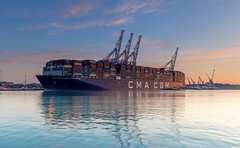 Stern Work (nicklucas2) Tags: ship container sea port crane reflection tug river test marchwood magazinelane