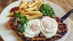 Gammon, Fried Eggs, Chips and Peas (Tony Worrall) Tags: add tag ©2018tonyworrall images photos photograff things uk england food foodie grub eat eaten taste tasty cook cooked iatethis foodporn foodpictures picturesoffood dish dishes menu plate plated made ingrediants nice flavour foodophile x yummy make tasted meal nutritional freshtaste foodstuff cuisine nourishment nutriments provisions ration refreshment store sustenance fare foodstuffs meals snacks bites chow cookery diet eatable fodder buy sale sell stock gammon friedeggs chipsandpeas egg fries meat