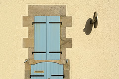 Blue shutters and a sign (Jan van der Wolf) Tags: map17438v blue shutters blinden gevel facade sign verkeersbord trafficsign roadsign france laturballe shadow schaduw wall muur