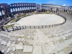 Pula: Roman Arena from southeast (ARKNTINA) Tags: pula pulacroatia istria istra europe croatia hr18 eur18 random6 town building architecture arena amphitheater pulaarena romanamphitheater romanarena romanruins ruins