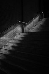 Stairway to Darkness (Claude Downunder) Tags: stairs stairway staircase lights pavers bricks railings night blackandwhite bw monochrome dark darkness
