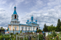 Church of the Kazan Icon of the Mother of God. (Oleg.A) Tags: ancient penzaregion russia church nature old brick city outdoor bell materials kuznetsk clouds exterior countryside summer cathedral yellow blue style evening orthodox town architecture cross cloudy village design white catedral outdoors penzenskayaoblast ru