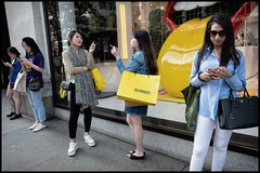 Fag Break (Stephen Percival) Tags: shopping rollingstones yellow selfridges fags cigarette break tongue shop fujifilm xpro2 street urban w1 london candid groupshot