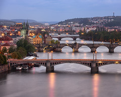 Aerial View of Vltava River and its Bridges in the Evening, Prague, Czech Republic (ansharphoto) Tags: aerial architecture attraction bohemia bridge building capital charles church city cityscape culture czech dusk europe european evening famous gothic historic history house iconic illuminated karluv landmark landscape lights medieval night old praga prague praha republic river roof sky skyline tourism tower town townscape travel twilight urban vacation view vltava water