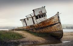 PRP23 (s-h-design) Tags: foggy water ship fish boat rusty weathered forgotten derelict abandonned sand coast old california wasser sandbank küste vergessen rost fischer boot schiff gras alt