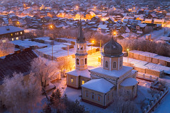 The Church of the Holy Martyr Paraskeva (mariequal) Tags: omsk russia cityscape winter rooftop roof above frost siberia landscape sunset village