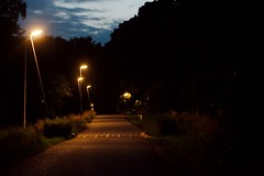 late bikeride postcards (strandtentje) Tags: dark streetlight street rural area bridge nature water reflection groningen reflections clouds evening night skies lamp posts
