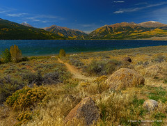 Early Fall, Twin Lakes, CO (HarrySchue) Tags: colorado reallyrightstuff rockymountains twinlakes nature nikon landscape lakes mountains fall fallcolors hiking rocks aspens fotodiox water