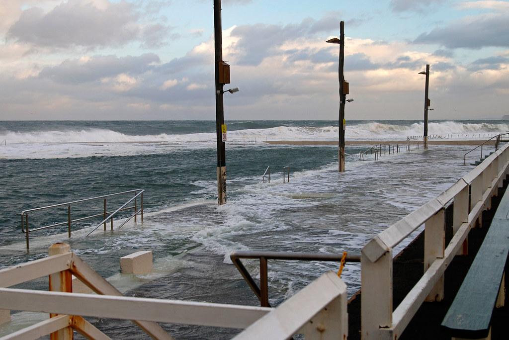 Big sea across Newcastle Baths
