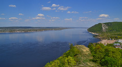 Zhiguli and Volga (МирославСтаменов) Tags: russia zhiguli mogutova overlook river volga mountain hill edge cloudscape sky water