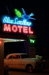 Late one night on Route 66 (dangr.dave) Tags: tucumcari nm newmexico quaycounty downtown historic architecture neon neonsign route66 blueswallowmotel