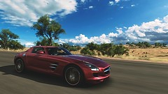 SLS AMG (polyneutron) Tags: car landscape mercedesbenz red sls amg supercar forzahorizon automotive dof motion clouds