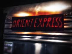 Lingos (LadyCardinalJenny) Tags: orientexpress sushibar smyrna mobilephotography iphone6s atlantametro sign text train