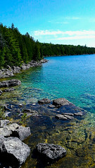 Bruce Peninsula National Park (MariaMargy) Tags: water tree forest bay rock landscape sky lake georgianbay tobermory ontario canada blue nature hike outdoors outside explore exploration