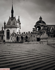 Château de Chantilly, France (DelioTO) Tags: 4x5 antiquities april architecture blackwhite city d23 f317 fomapan100 historical holiday pinhole rain trip