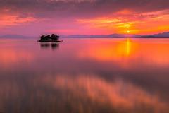 sunset 7494 (junjiaoyama) Tags: japan sunset sky light cloud weather landscape orange contrast color bright lake island water nature spring reflection calm
