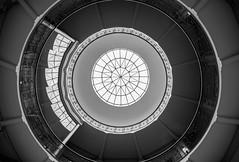 Skylight (Karen_Chappell) Tags: ottawa travel fisheye wideangle canonef815mmf4lfisheyeusm blackandwhite bw round geometry geometric architecture window skylight circle pattern building university ontario railing