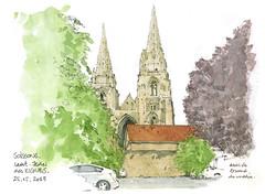 Soisson, les tours de l'ancienne abbatiale (gerard michel) Tags: france picardie soissons abbaye sketch croquis architecture aquarelle watercolour