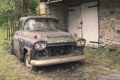 Ditched.... (Joe Hengel) Tags: ditched truck gmctruck gmc oldtruck reading readingpa barn oldbarn stonebarn pennsylvania pa weeds woodendoors