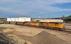"Westbound Empty Coal Train in Kansas City, MO (""Righteous"" Grant G.) Tags: up union pacific railroad railway locomotive ge power kansas city missouri empty coal west westbound train trains"