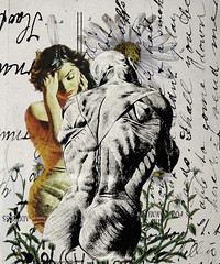 altered: tell me your answer (hoolia14oh4) Tags: altered collage art anatomy pulp paperback vintage postcard script daisy botanical